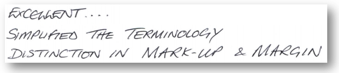 excellent simplified terminology distinction mark up and margin
